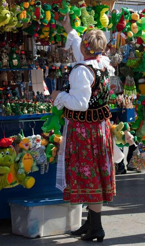 Street Market Stall Krakow Poland National Costume