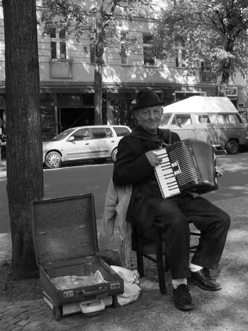 Street Musicians Accordion Player Older Gentleman