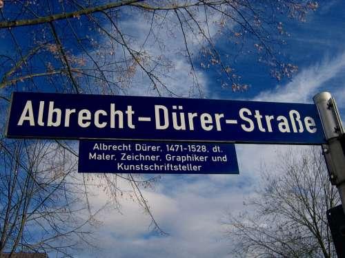 Street Name Street Sign Shield Road Albrecht Dürer