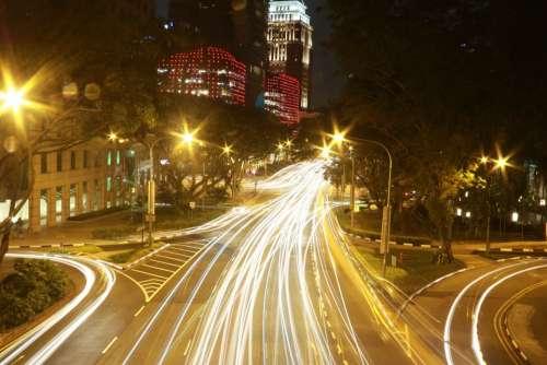 Streets Lights City Night Urban Traffic Road