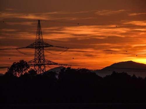 Strommast Power Line Silhouette Sunset Evening Sky