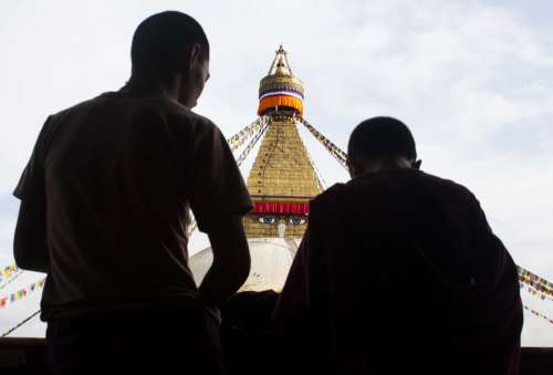 Stupa Buddha Buddhism Monks Shadows Human Person
