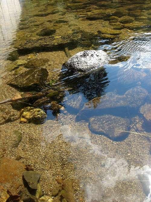 Summer River Stone Sun Reflection Weir