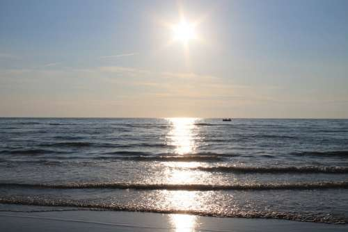 Summer North Sea Sunset Vacations Coast Sand Wave