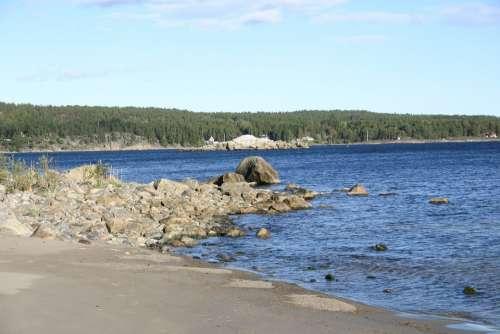 Summer Nature Beach North Of Sweden Sweden Water