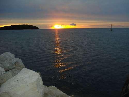 Sun Sunset Croatia Afterglow Beach Water Sea