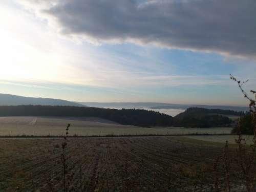 Sun Sky Grain Field Landscape Westerwald Germany