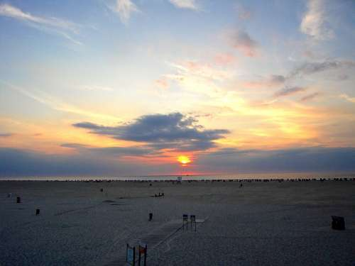 Sun Sunset Sea Sky Clouds Abendstimmung