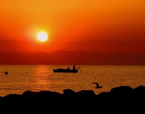 Sun Boat East Great Fisherman Sky Red Birds