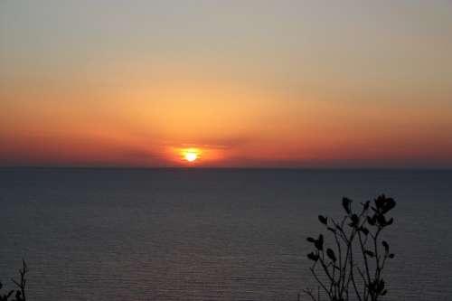 Sun Red Sunset Sea Horizon