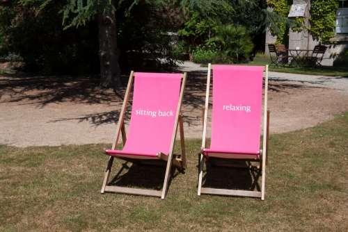 Sun Loungers Pink Wood Rest Relax Garden Silent