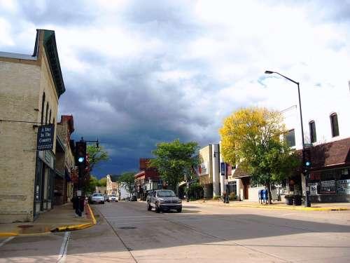 Sun Prairie Wisconsin Street Urban Downtown