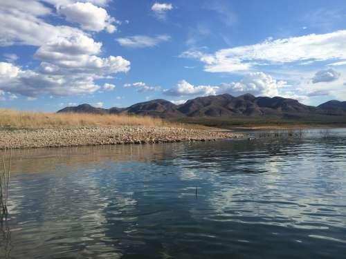 Sunny Lake Water Lake Roosevelt Arizona Reflection