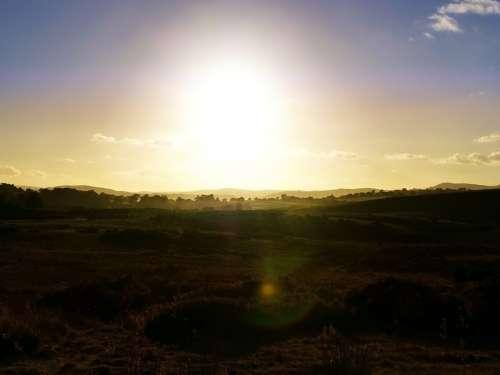Sunny Sun Sunset Sky Wales Green Blue Yellow