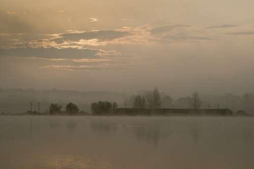 Sunrise Reflection Pond Water Orange Fog