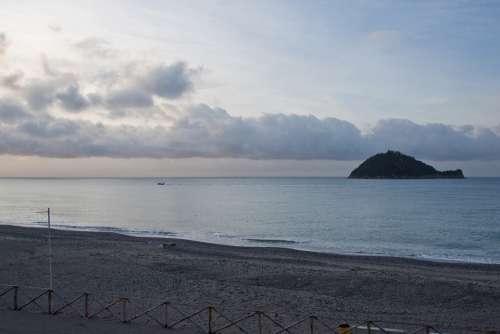 Sunrise Sea Beach Sand Island Clouds Sky Blue
