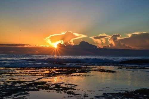 Sunrise Mona Vale Sydney Australia Rocks Ocean