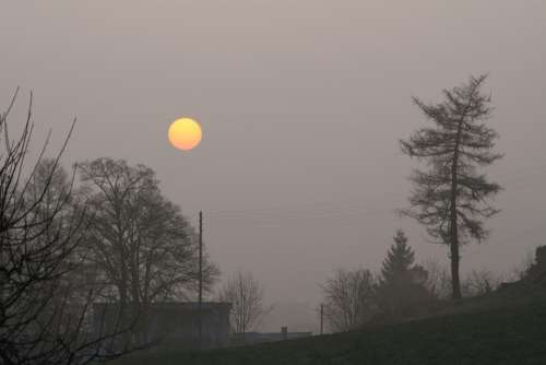 Sunrise Morning Sun Sun Landscape Fog