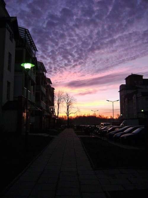 Sunrise Sky Clouds Colors Blocks