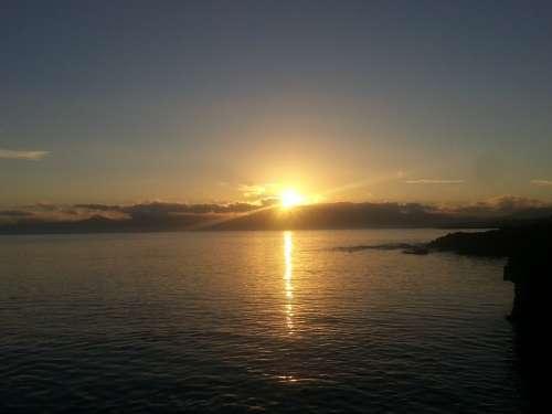 Sunrise Sea Mallorca Bank Cliff Spain Maritime