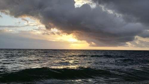 Sunrise Sea Sky Morning Mood Sun Nature