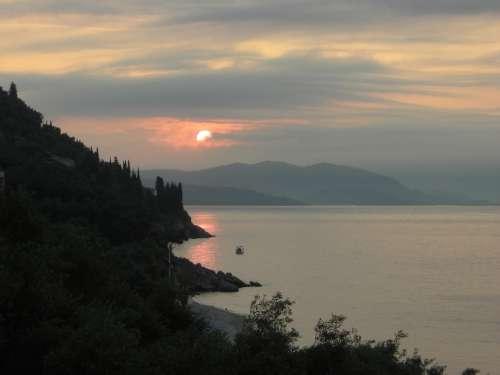 Sunrise Sea Shore Corfu Greece