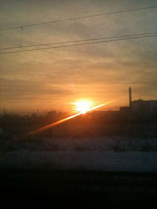 Sunrise Sun Winter Berlin Clouds Beautiful