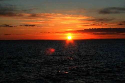 Sunset Sun Setting Sun Sea Sky Evening Sky