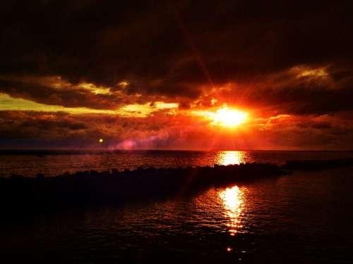 Sunset Sea Light Sky