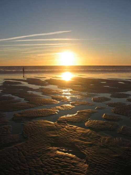 Sunset Backlighting Sea Beach Ebb Sand Sandbanks