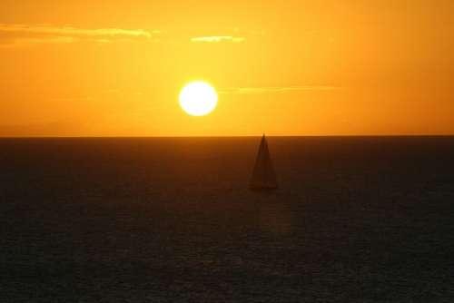 Sunset At Dusk Twilight Sky Nature Sea Ocean Sun