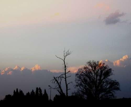 Sunset Pink Sky Clouds Ridge Of Light Highlighted