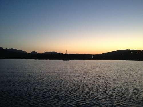 Sunset Sea Night Water Ship Coast Boat Lake
