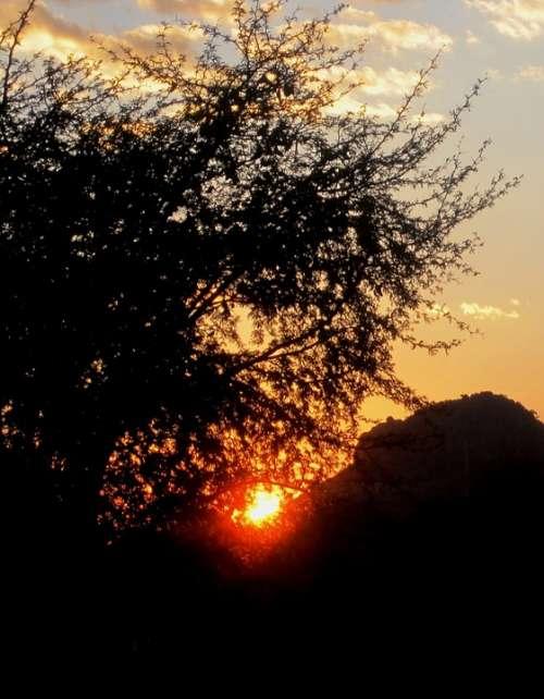 Sunset Cloud White Streky Sun Orb Bright Halo