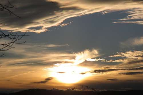 Sunset Sky Landscape View Clouds
