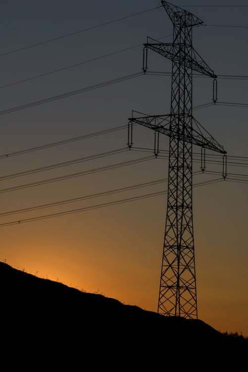 Sunset Electric Pylon Wires Lines Silhouette