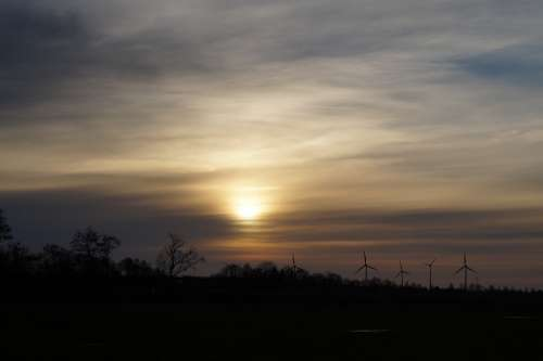 Sunset Abendstimmung Romantic Sky Wind Turbines