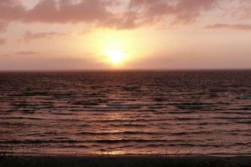 Sunset Backlighting Evening Sky Clouds Nature