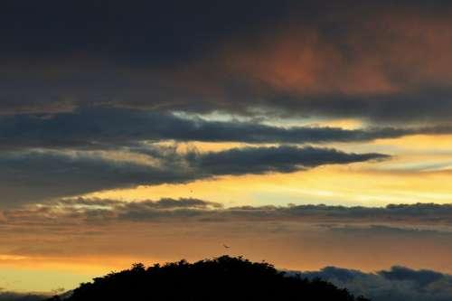 Sunset Clouds Streaks Dark Blue Gold Orange