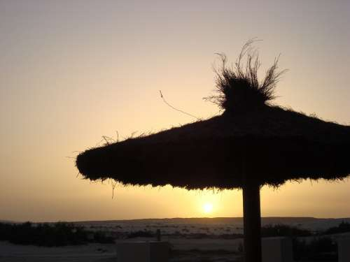 Sunset Beach Parasol Vacations Romantic