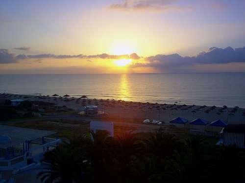 Sunset Sea Mediterranean Sea Hammamet Tunisia