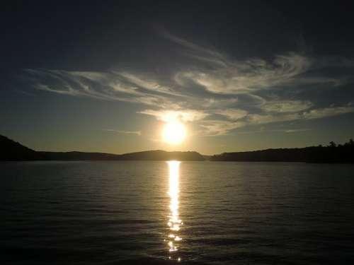Sunset On Lake Baptiste Water Reflection Sky