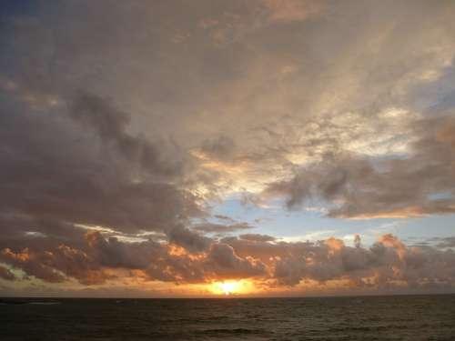 Sunset Afterglow Evening Sky Clouds