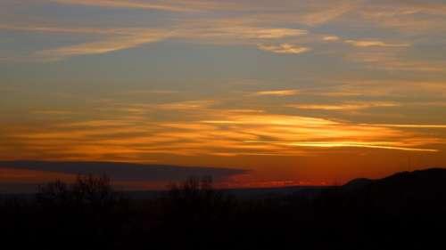 Sunset Cloud Light Színesfelhő Panorama Landscape