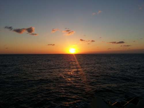 Sunset Sea Evening Glow Glow