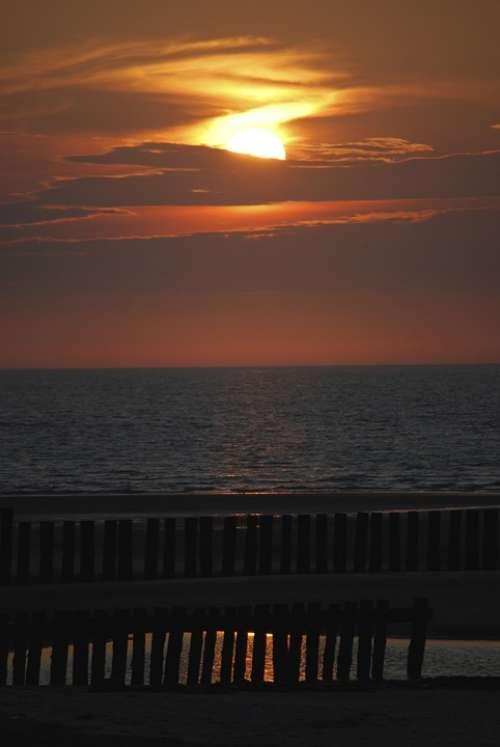 Sunset Wangerooge Lake North Sea Sea Sky Clouds