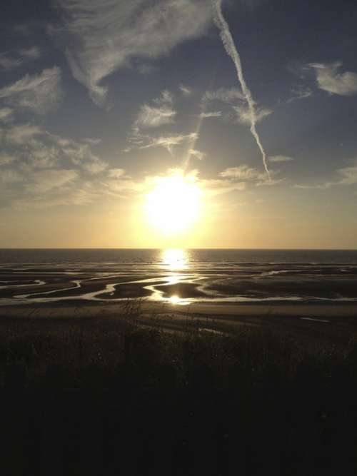 Sunset Sea Sky Ocean Beach Clouds