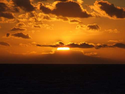 Sunset Sun Clouds Sea Gold Yellow