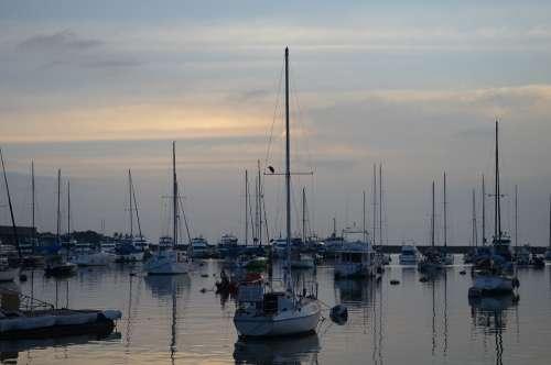 Sunset Landscape Golden Sea Ocean Boat