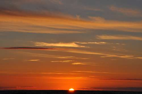 Sunset Sky Clouds The Sun Sea Heat Summer Orange